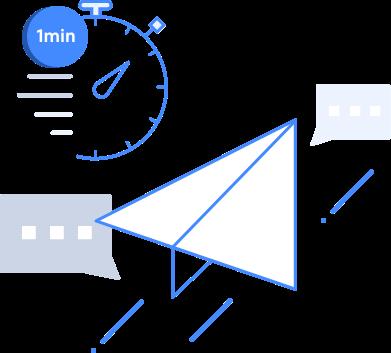 1분 단위로 예약 발송이 가능하다는 의미의 이미지(시계와 종이비행기 이미지)