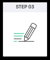 step3 연필로 기록하는 이미지(메일제목이 자동으로 완성되는 의미)