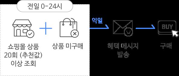 쇼핑몰 상품 20회이상 조회, 상품 미구매, 혜택 메시지 발송, 구매